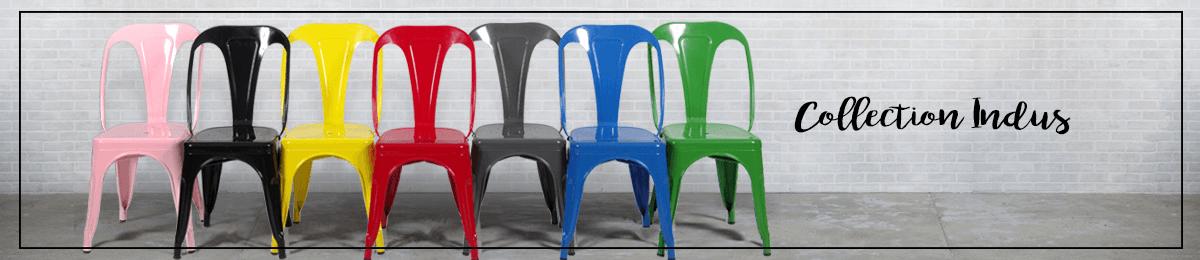 Collection indus : chaises et tabourets de bar