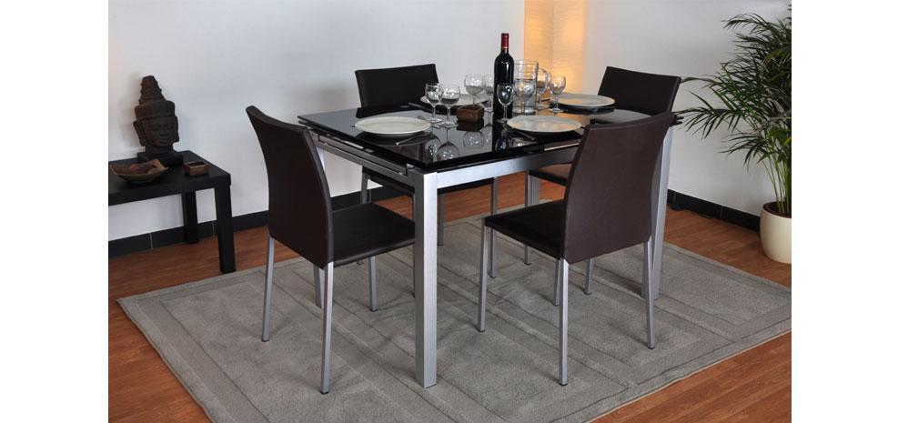 Table verre noir extensible conceptions de maison - Table salle a manger verre trempe noir extensible ...