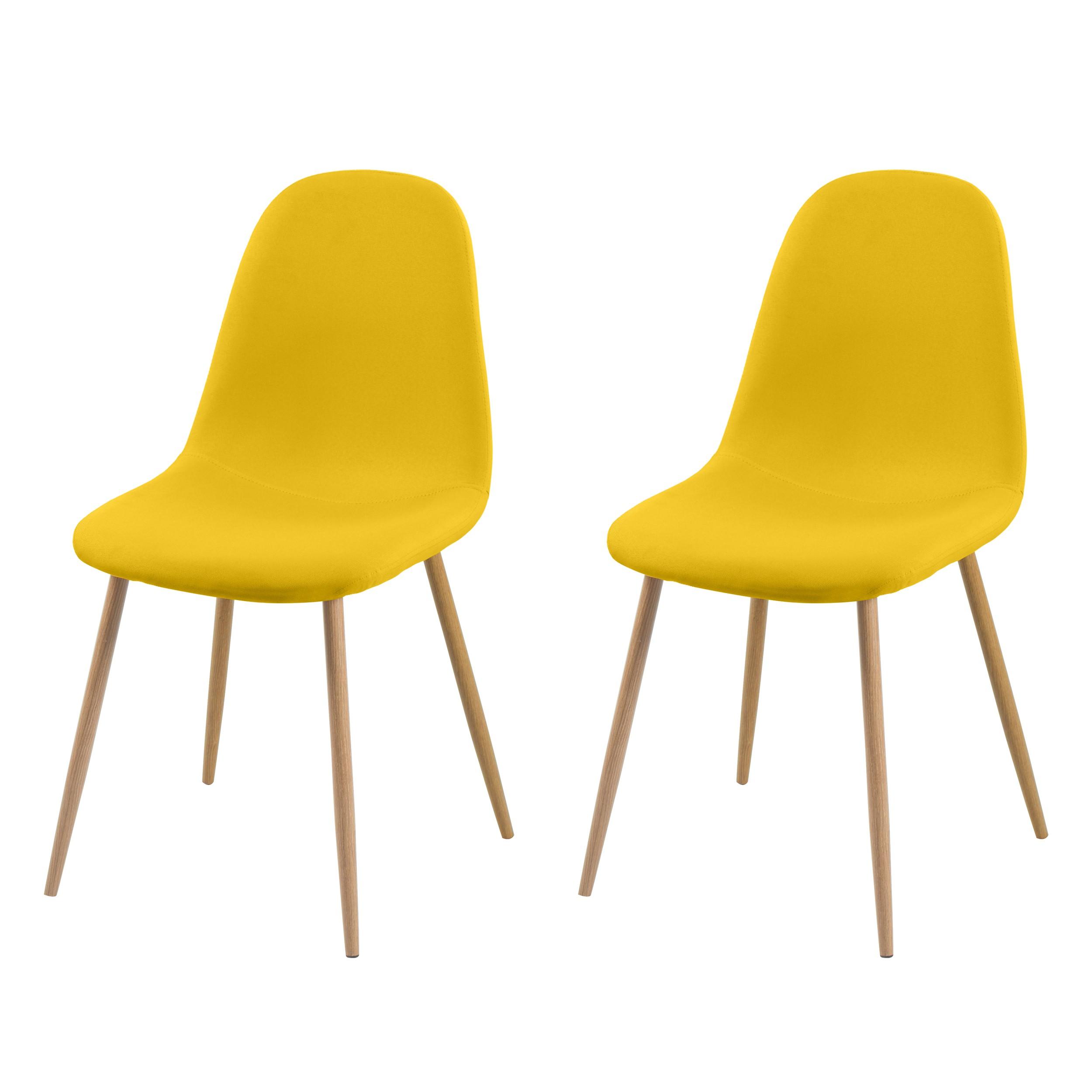 achat chaise jaune tissu bois design