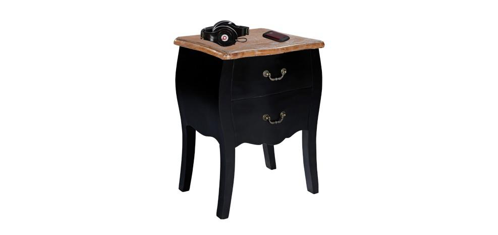 Chevet marquis noir achetez nos chevets marquis noirs - Table de chevet cuir noir ...