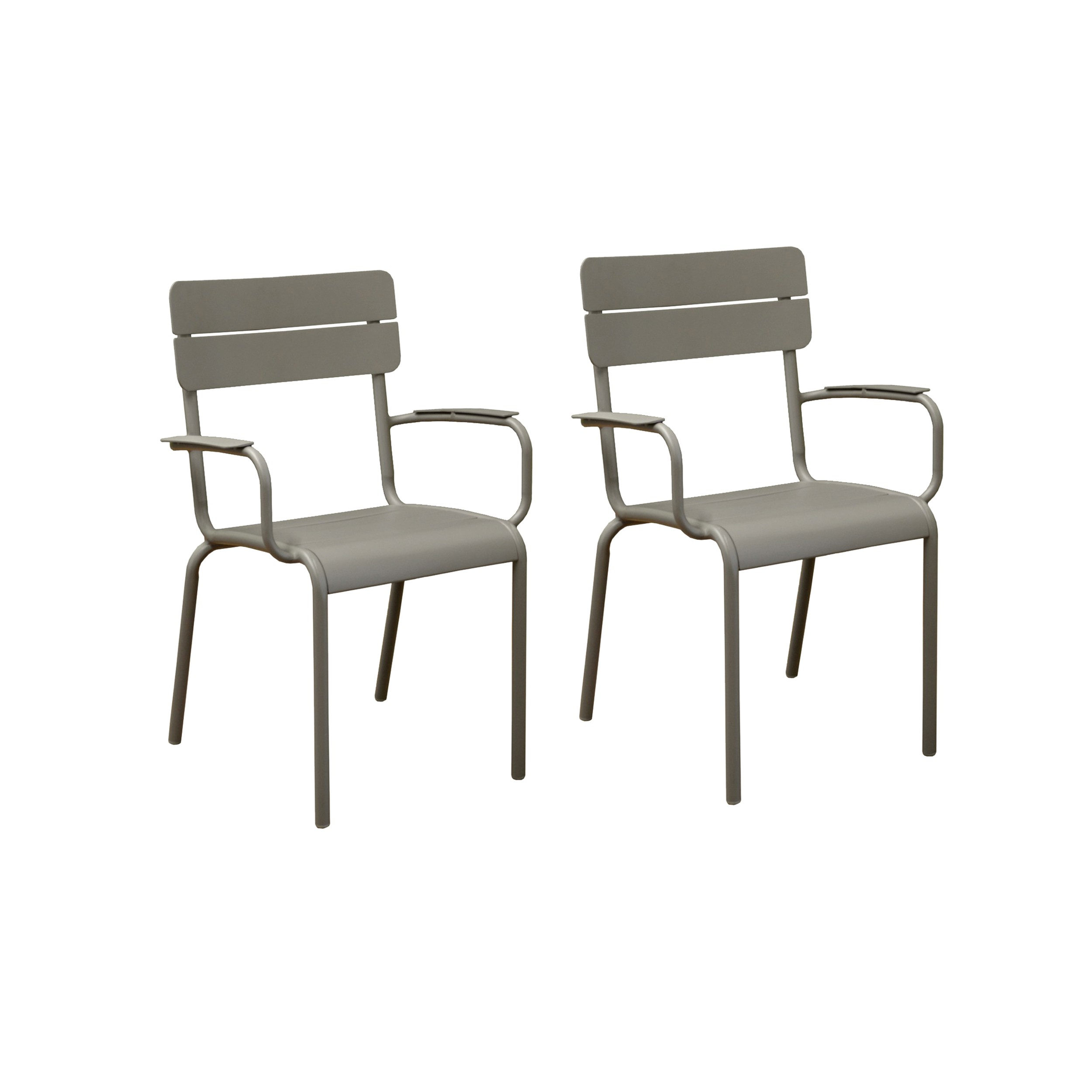 achat fauteuil jardin metal taupe design lot de 2