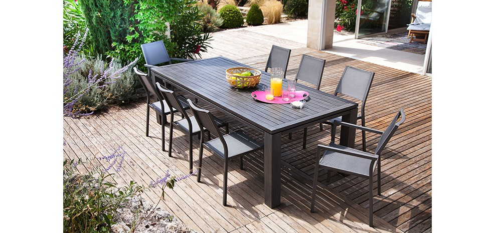 table de jardin 180 cm marbella grise craquez pour nos tables de jardin 180 cm marbella grises. Black Bedroom Furniture Sets. Home Design Ideas