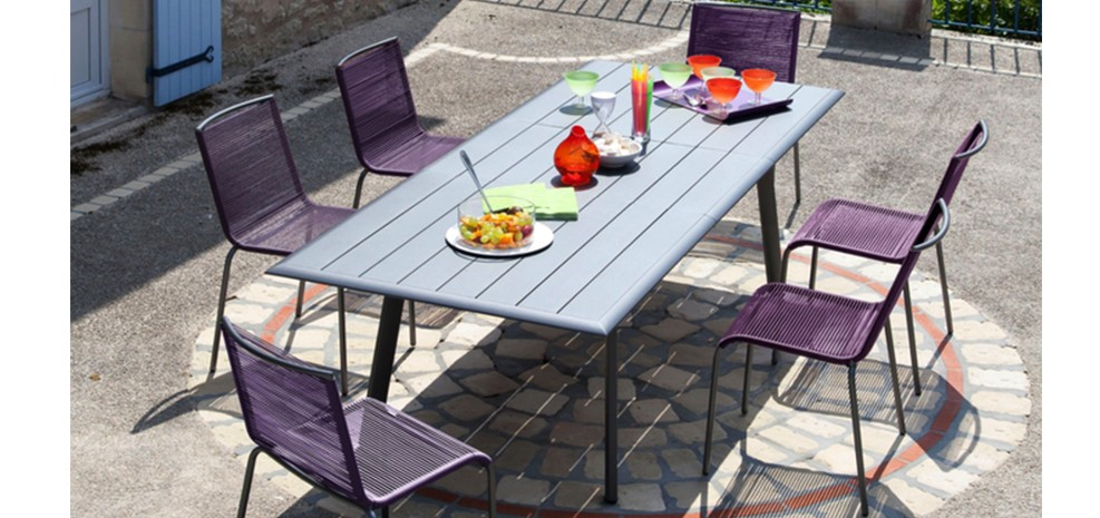 Table de jardin extensible 150 cm tampa grise adoptez for Achat table exterieur