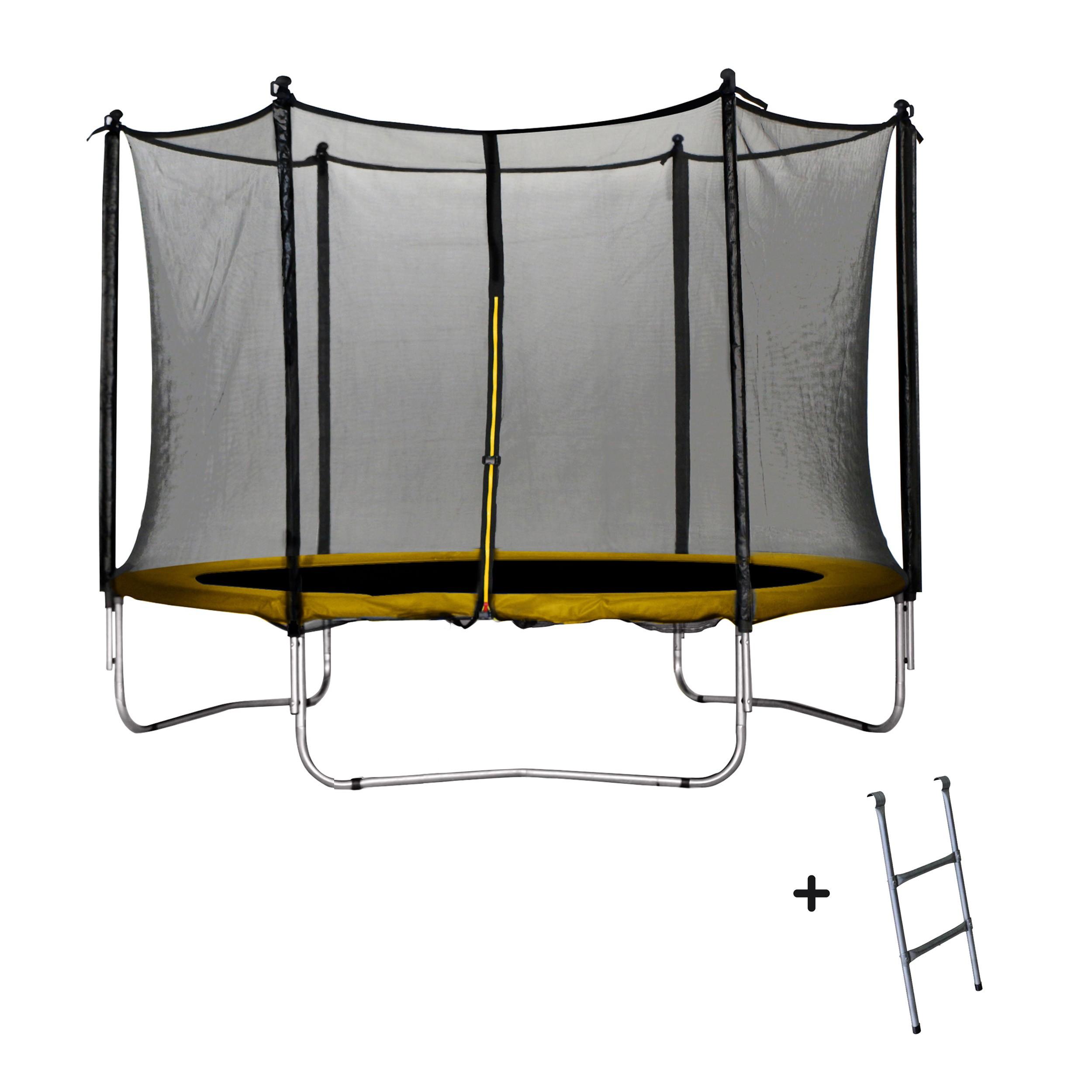 achat trampoline jaune 305 cm echelle