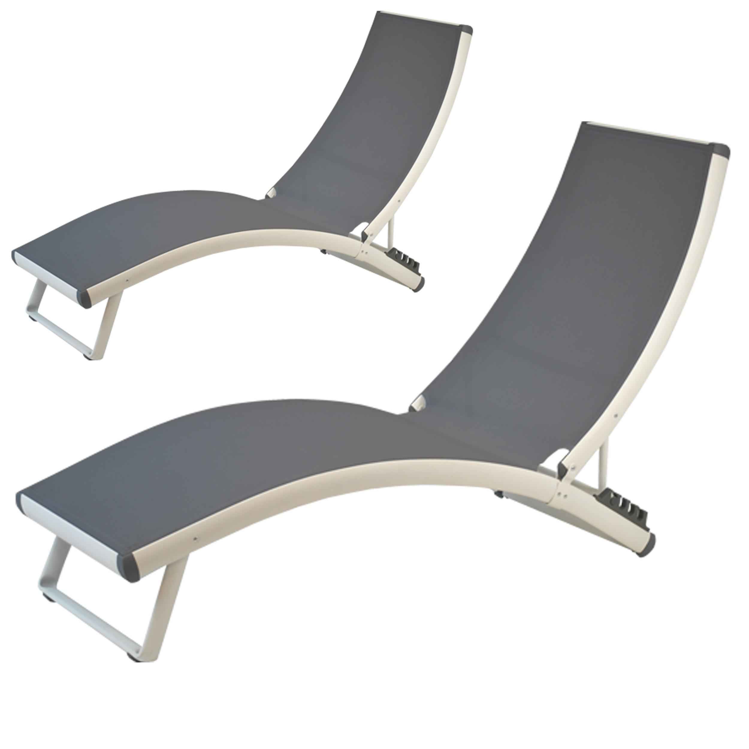 transat bilbao gris blanc lot de 2 relaxez vous dans. Black Bedroom Furniture Sets. Home Design Ideas