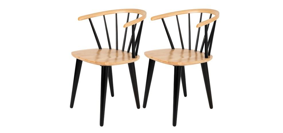 Acheter Chaise Bois Noir Lot De 2