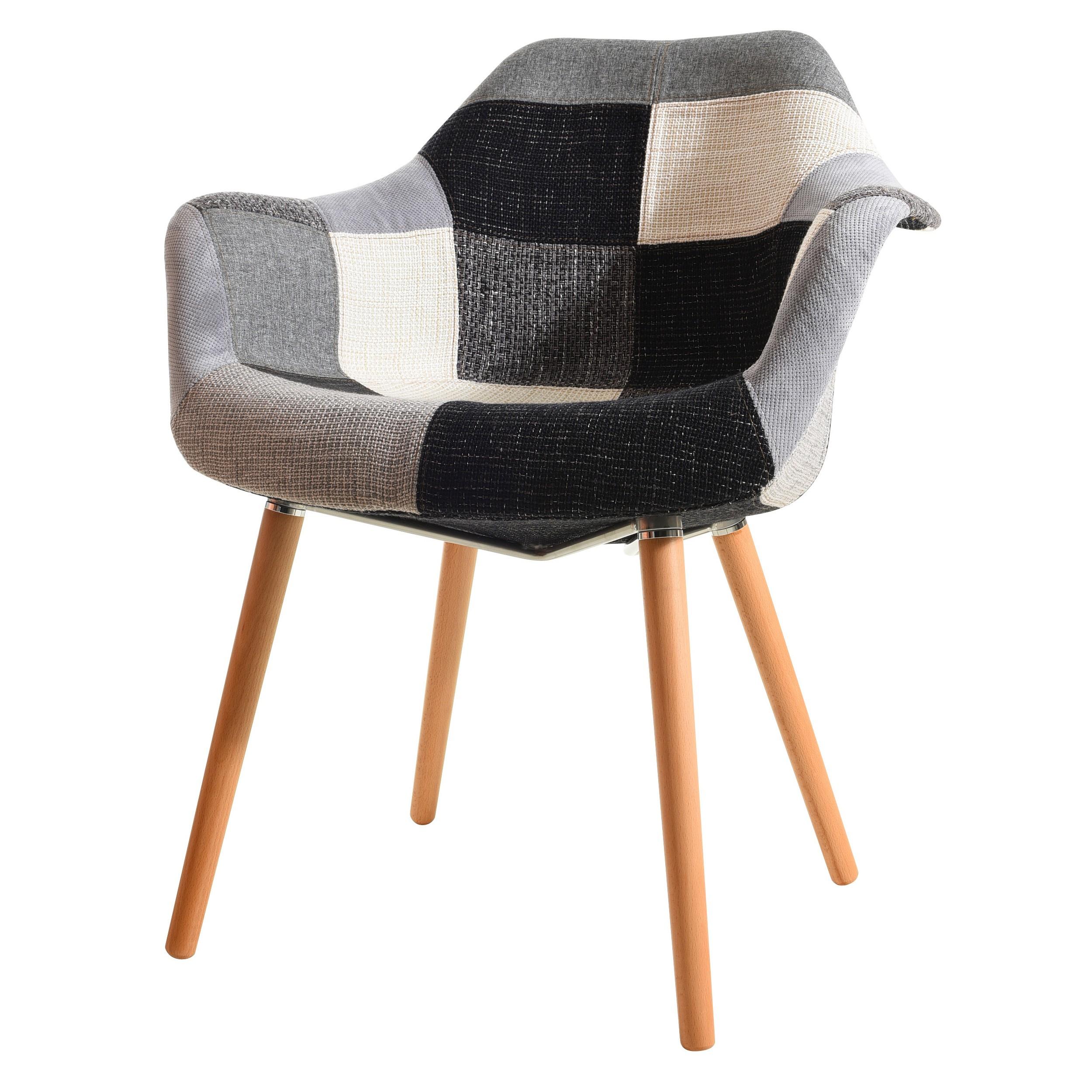 Chaise anssen patchwork grise commandez nos chaises for Chaise 1er prix