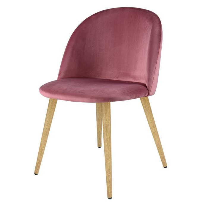 Chaise cozy en velours rose lot de 2 choisissez les for Acheter une chaise