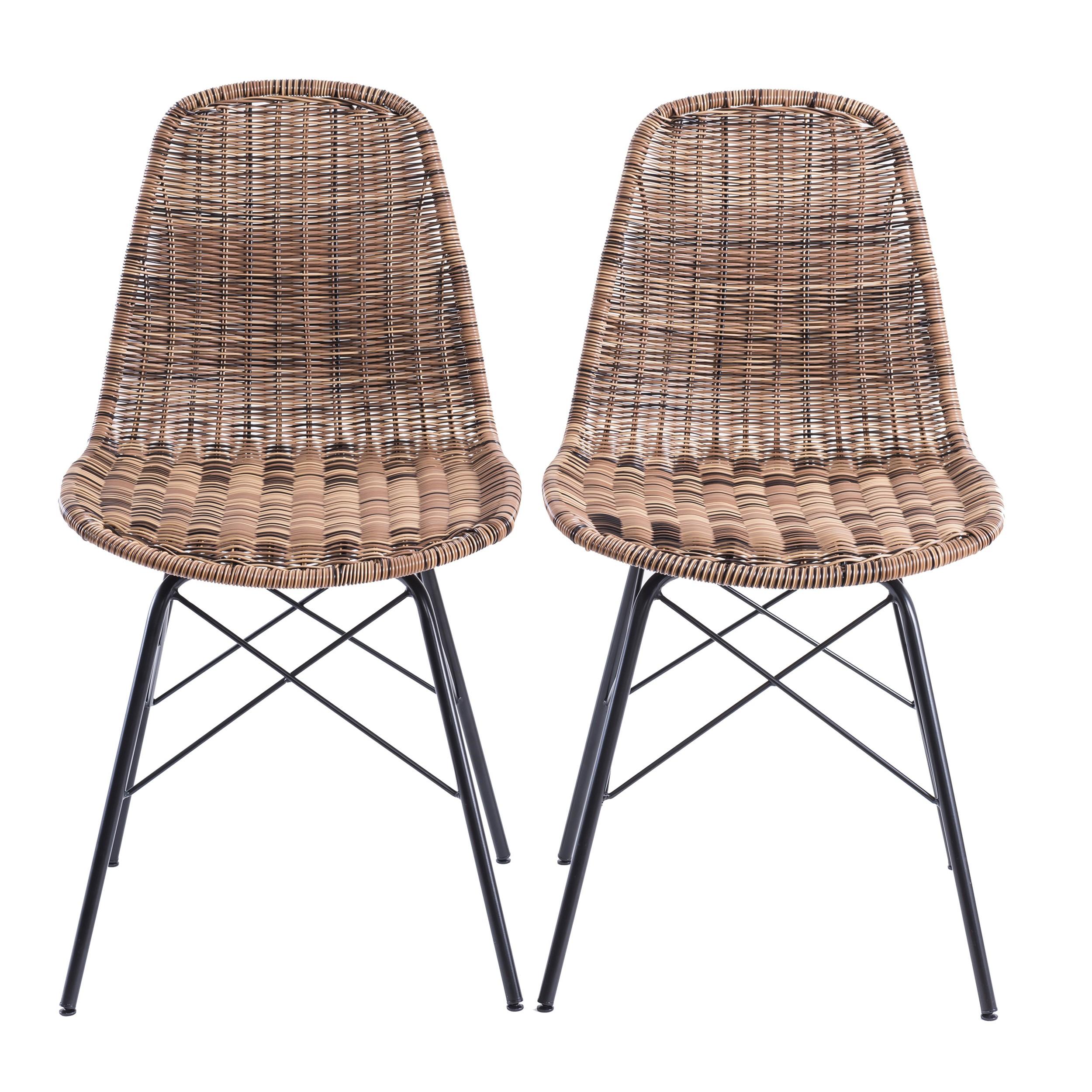 Chaise tiptur en r sine tress e naturelle lot de 2 for Acheter chaise design