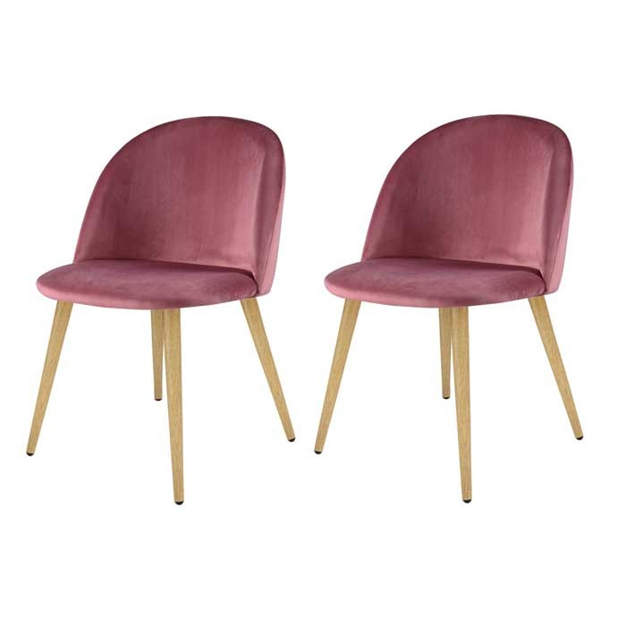 Chaise cozy en velours rose lot de 2 choisissez les for Acheter chaise design