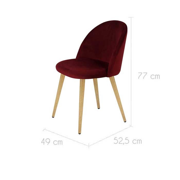 Chaise cozy en velours bordeaux lot de 2 d couvrez les for Acheter chaise design