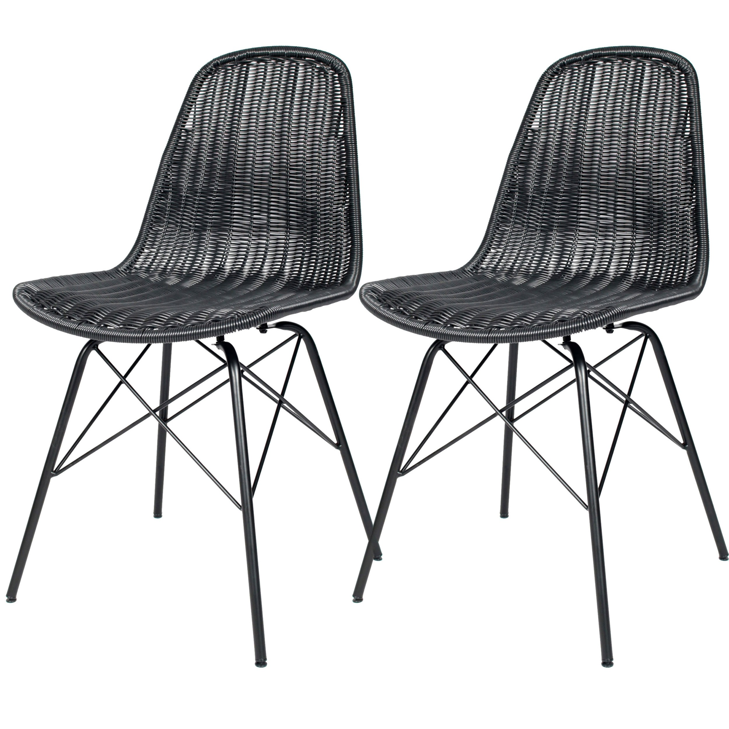 Chaise tiptur en r sine tress e noire lot de 2 for Acheter chaise design