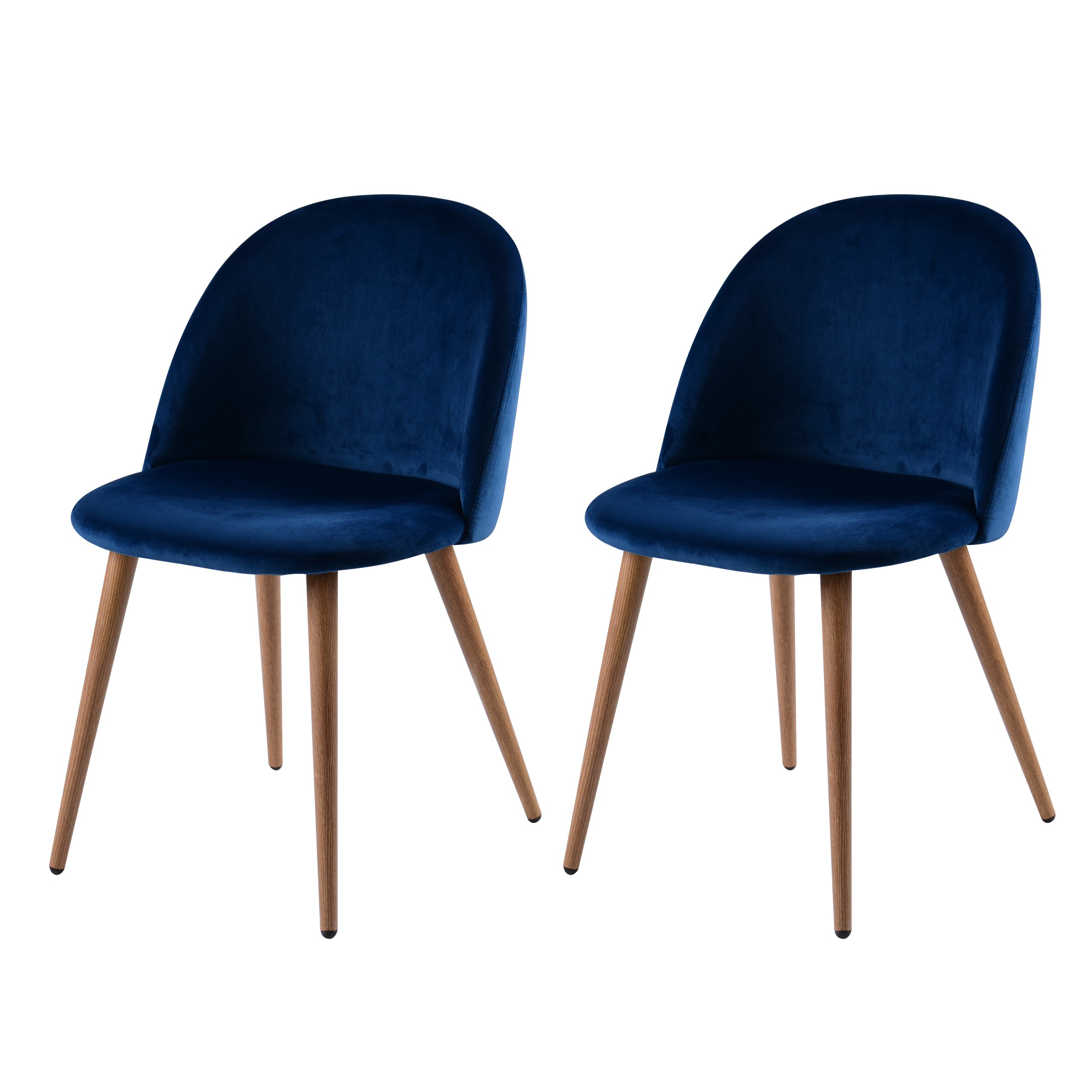 Chaise cozy en velours bleu lot de 2 commandez les for Chaise scandinave bleu