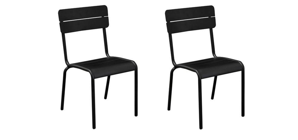 chaise de jardin casilda noire lot de 2 achetez nos lots de 2 chaises de jardin casilda. Black Bedroom Furniture Sets. Home Design Ideas