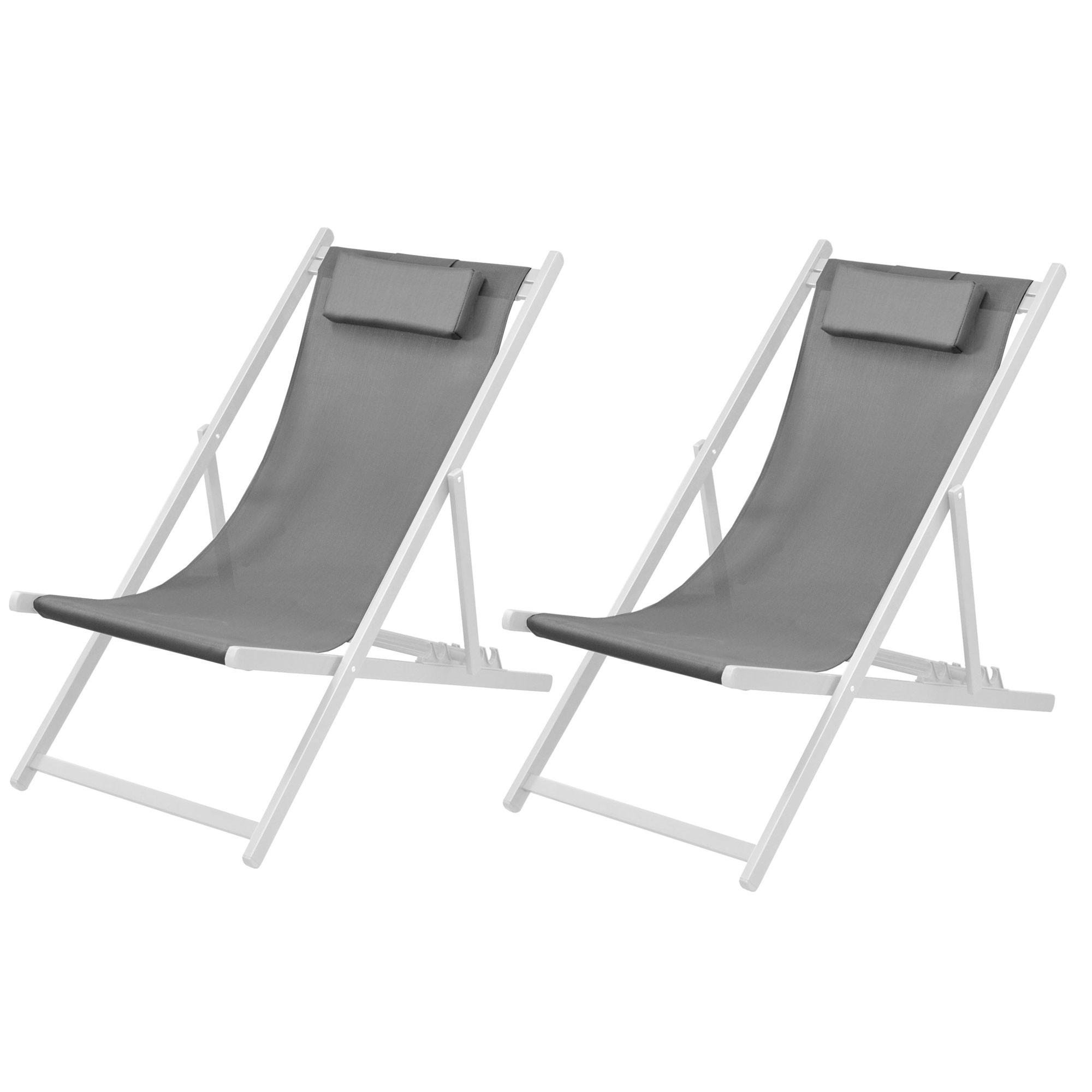 Chaise longue calvi grise et blanche lot de 2 achetez - Chaise blanche et grise ...