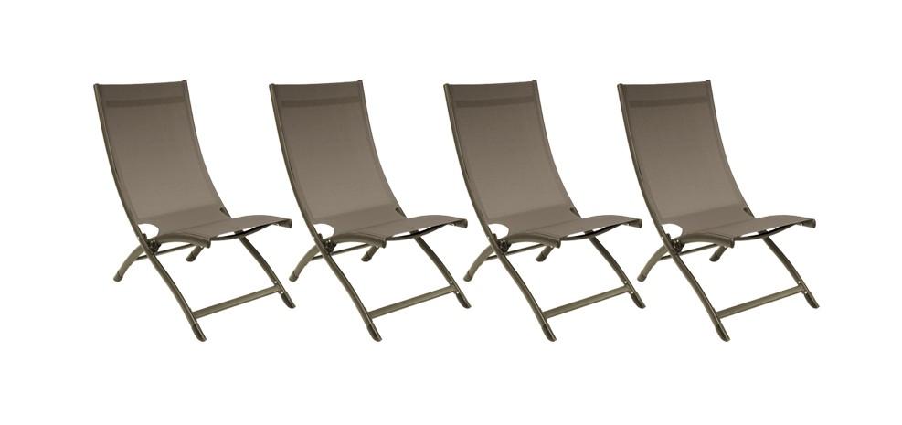 Chaise longue porto fino taupe lot de 4 achetez nos for Acheter chaises longues