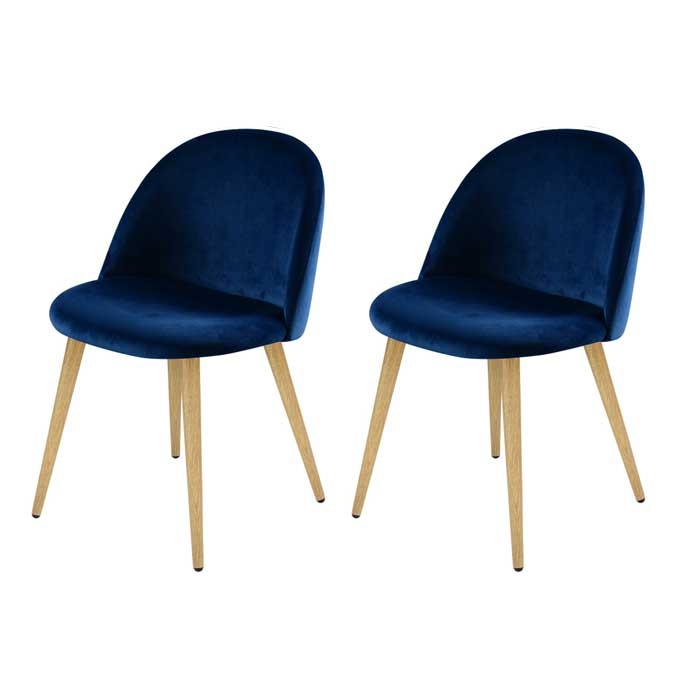 Chaise cozy en velours bleu lot de 2 commandez les for Chaise 1er prix