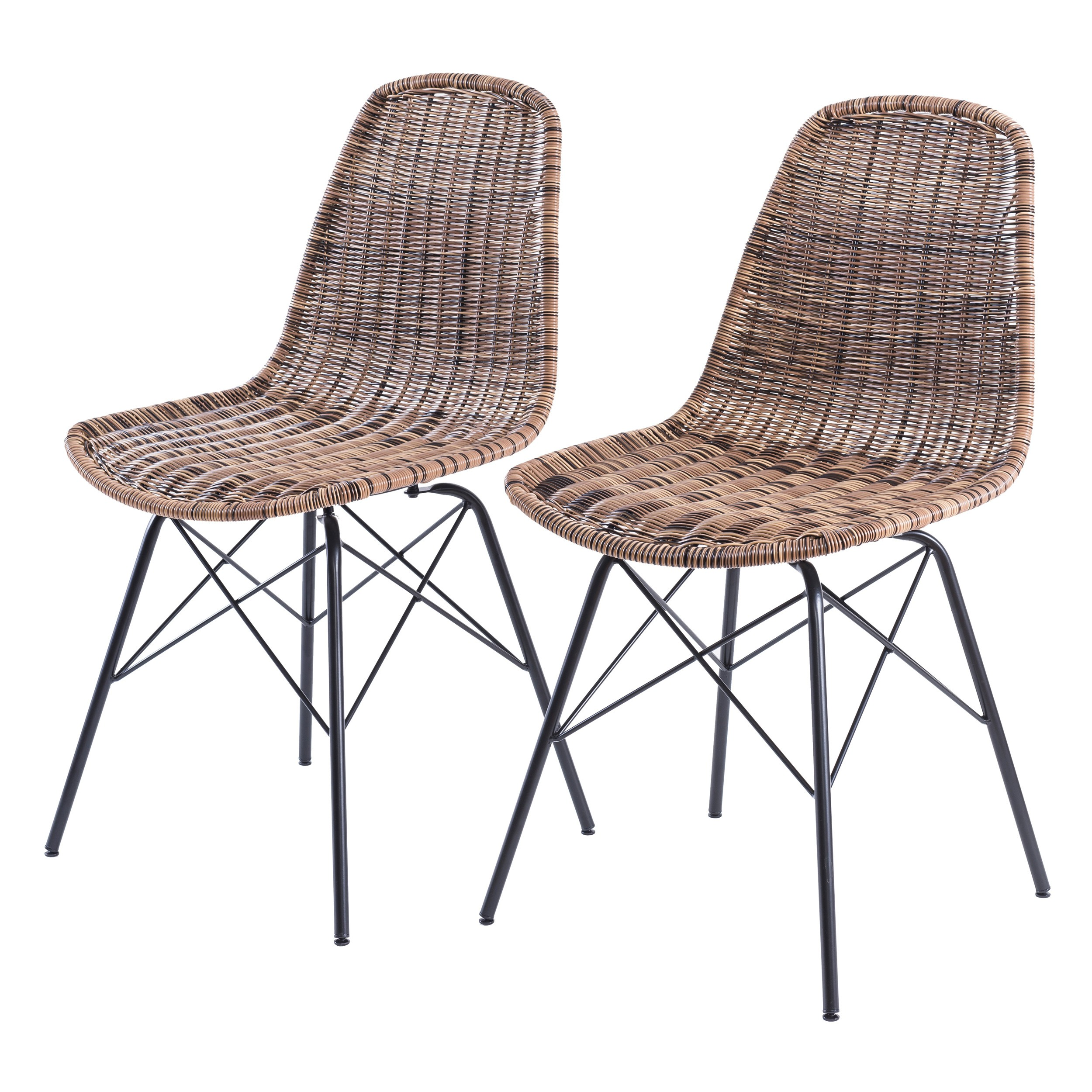 Chaise tiptur en r sine tress e naturelle lot de 2 for Acheter des chaises