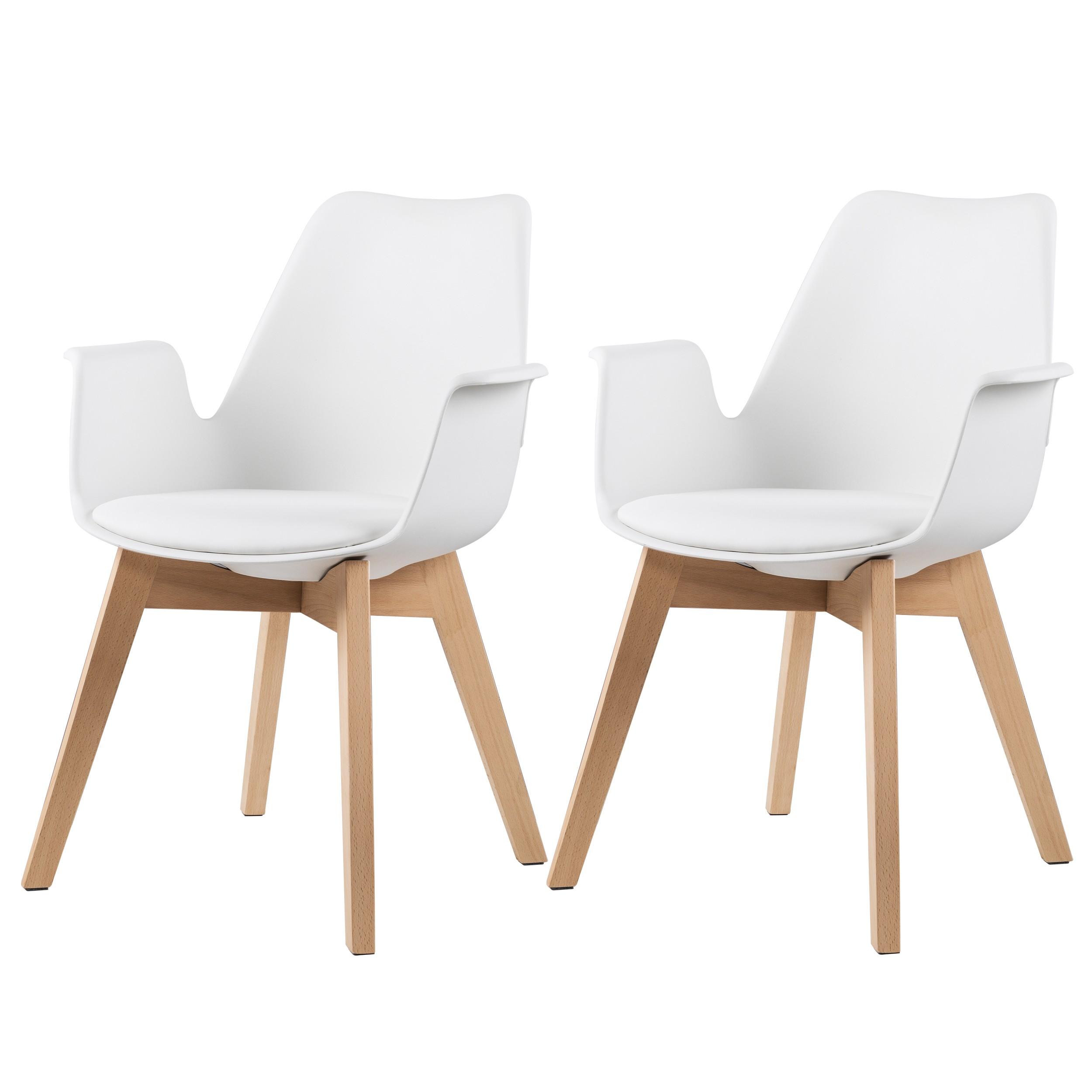 chaise nordique blanche avec accoudoir lot de 2 adoptez nos chaises nordique blanches avec
