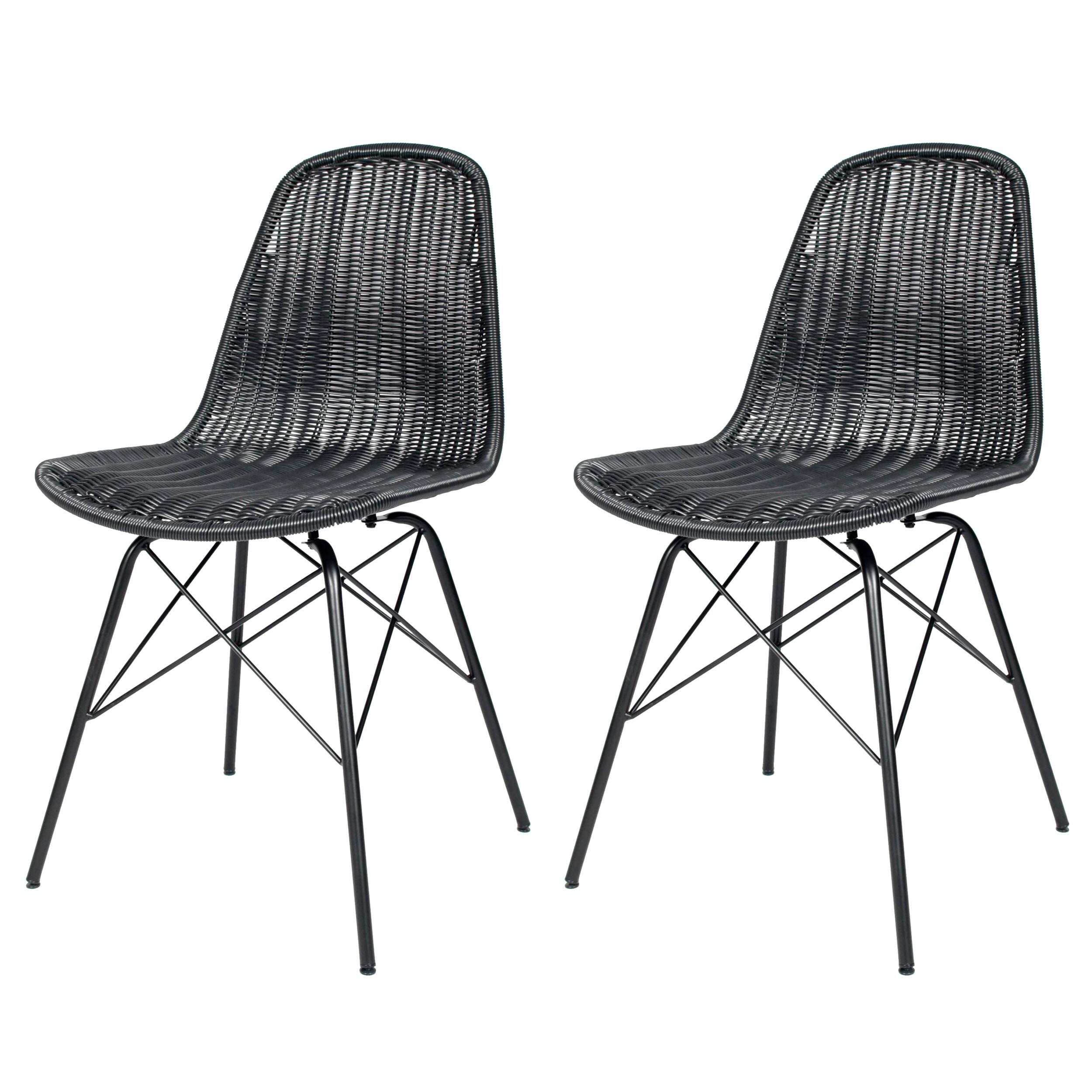 Chaise tiptur en r sine tress e noire lot de 2 - Chaise resine tressee ...