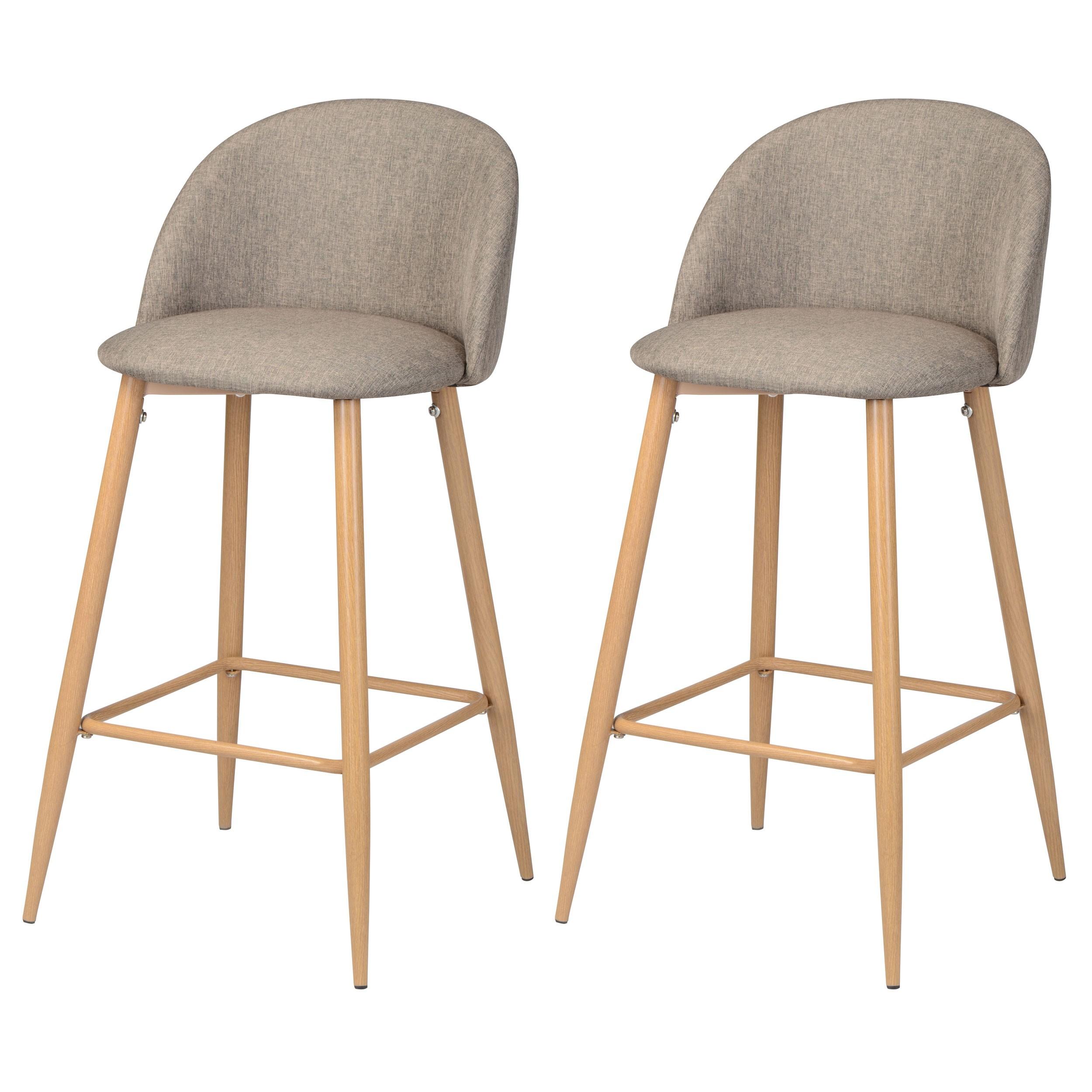 chaise de bar cozy taupe (lot de 2) : commandez nos chaises de bar