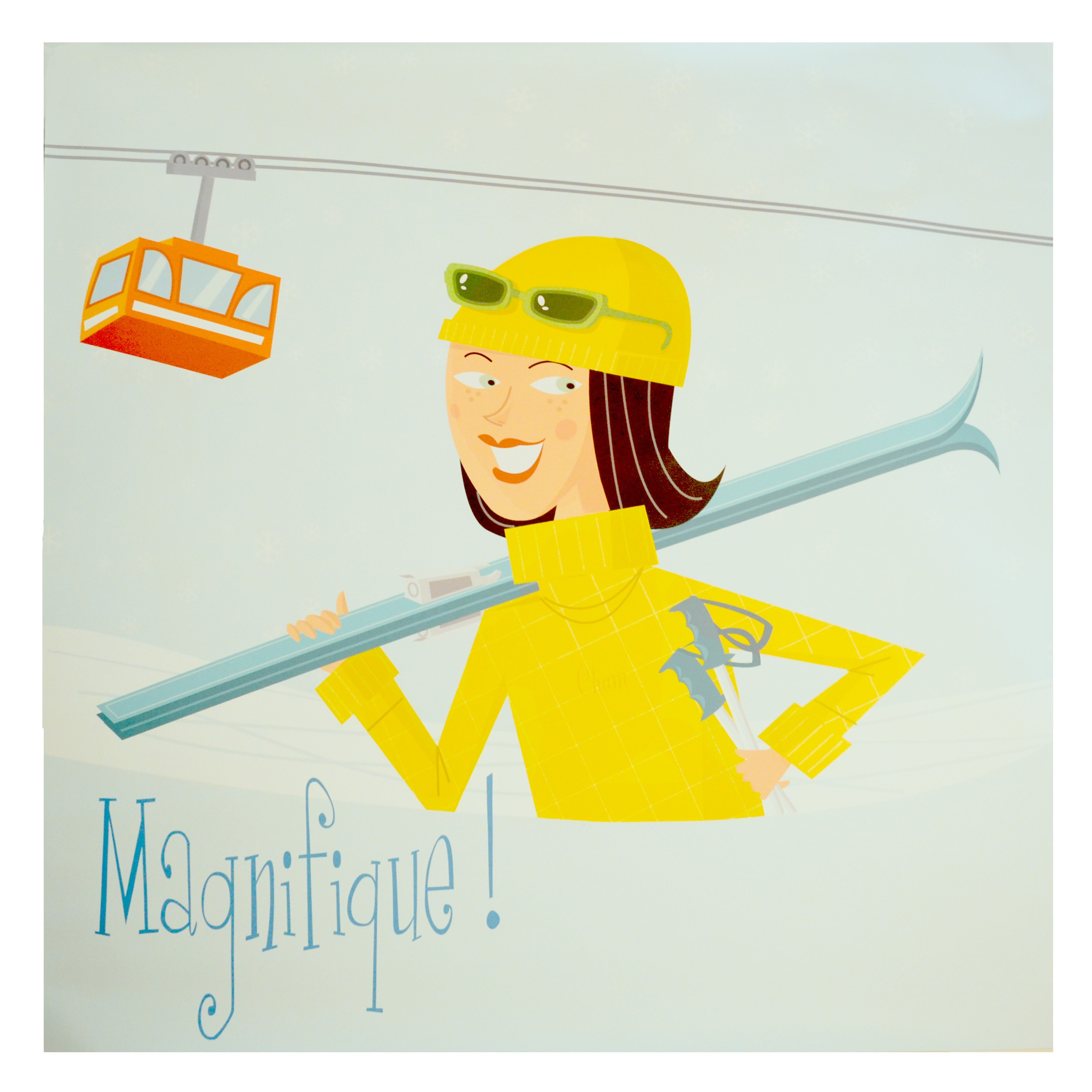 acheter poster fille au ski