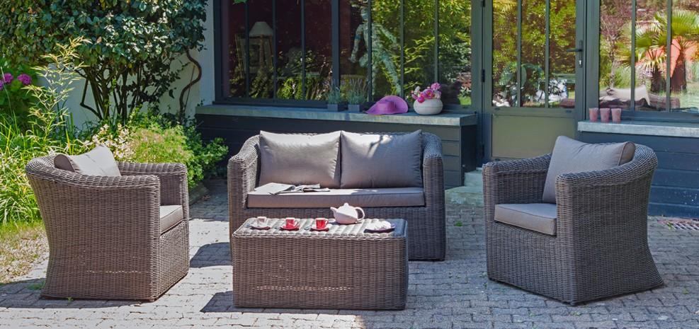 Salon de jardin talagante taupe achetez salons de jardin for Acheter salon de jardin