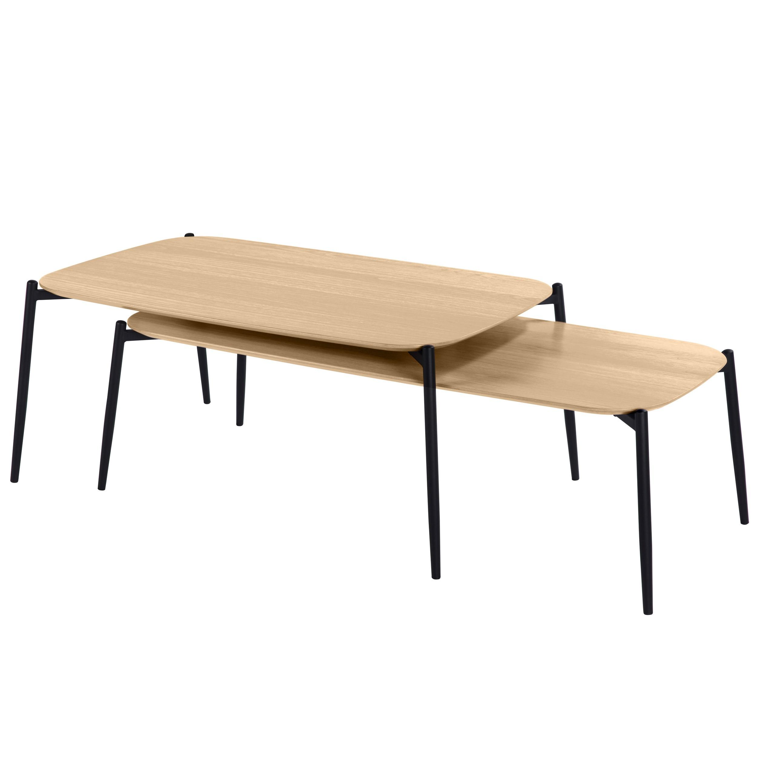 table basse gigogne prissy en bois clair lot de 2 achetez nos tables basses gigognes prissy. Black Bedroom Furniture Sets. Home Design Ideas