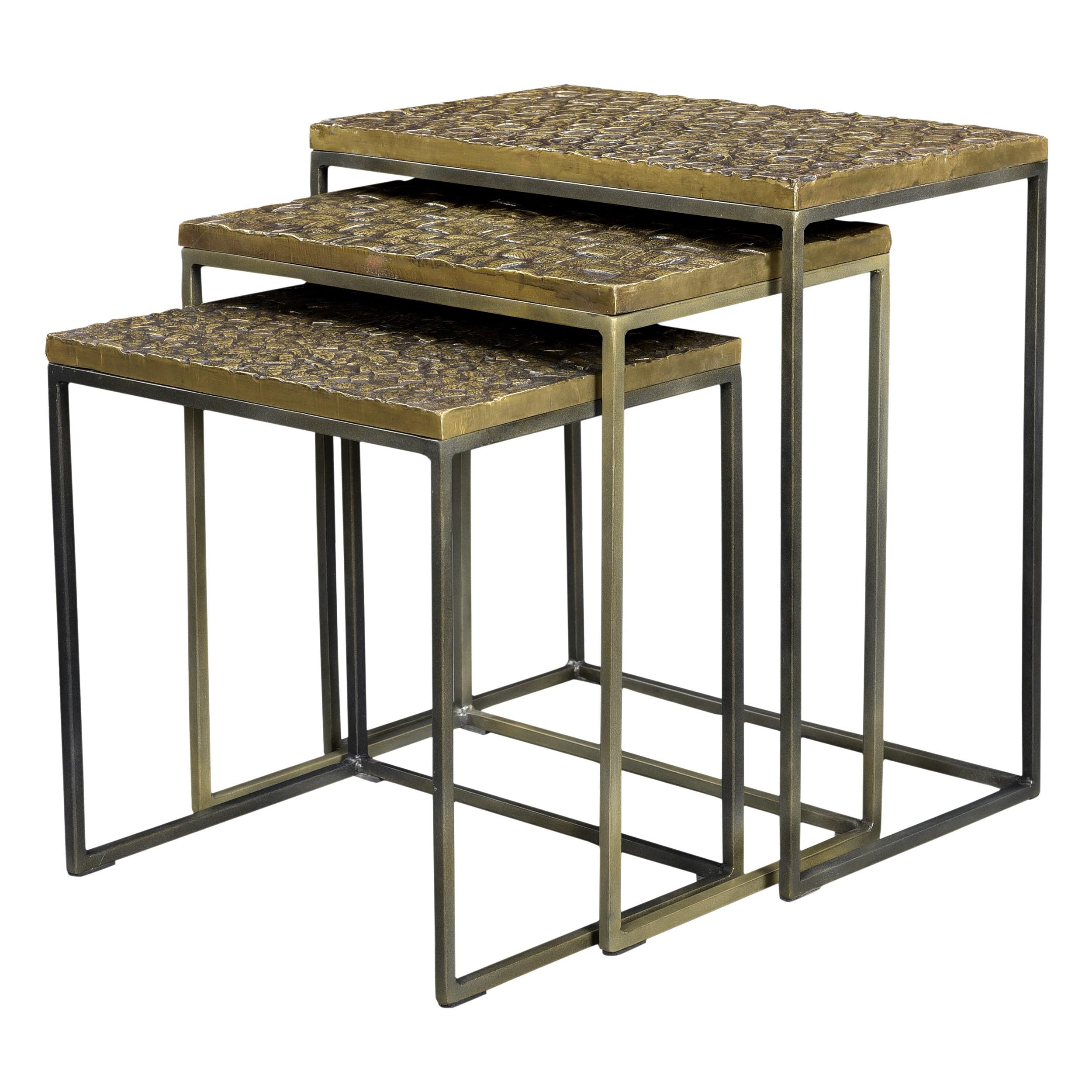 tables basses gigognes carr es akshaya lot de 3. Black Bedroom Furniture Sets. Home Design Ideas