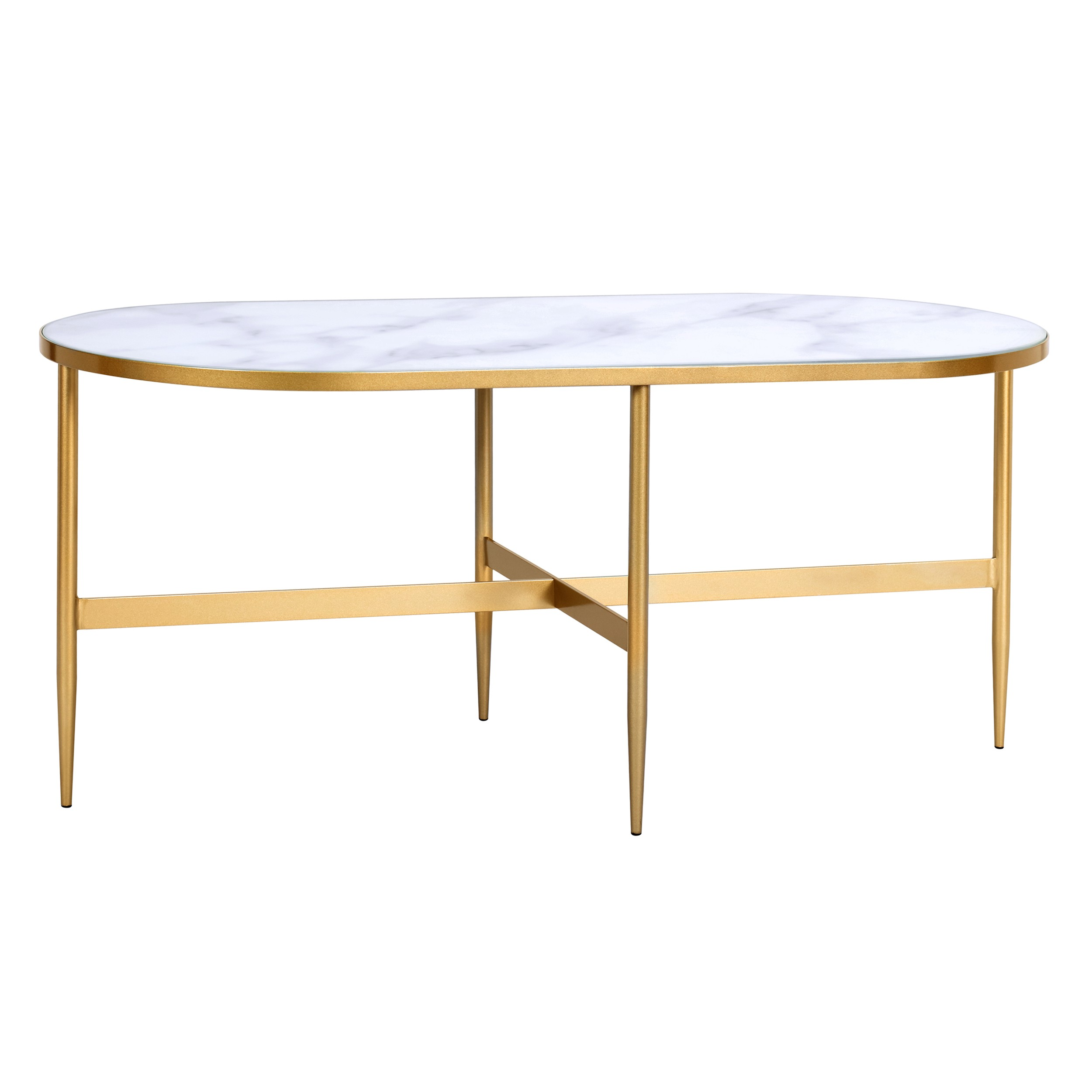acheter table basse ovale pieds dores metal