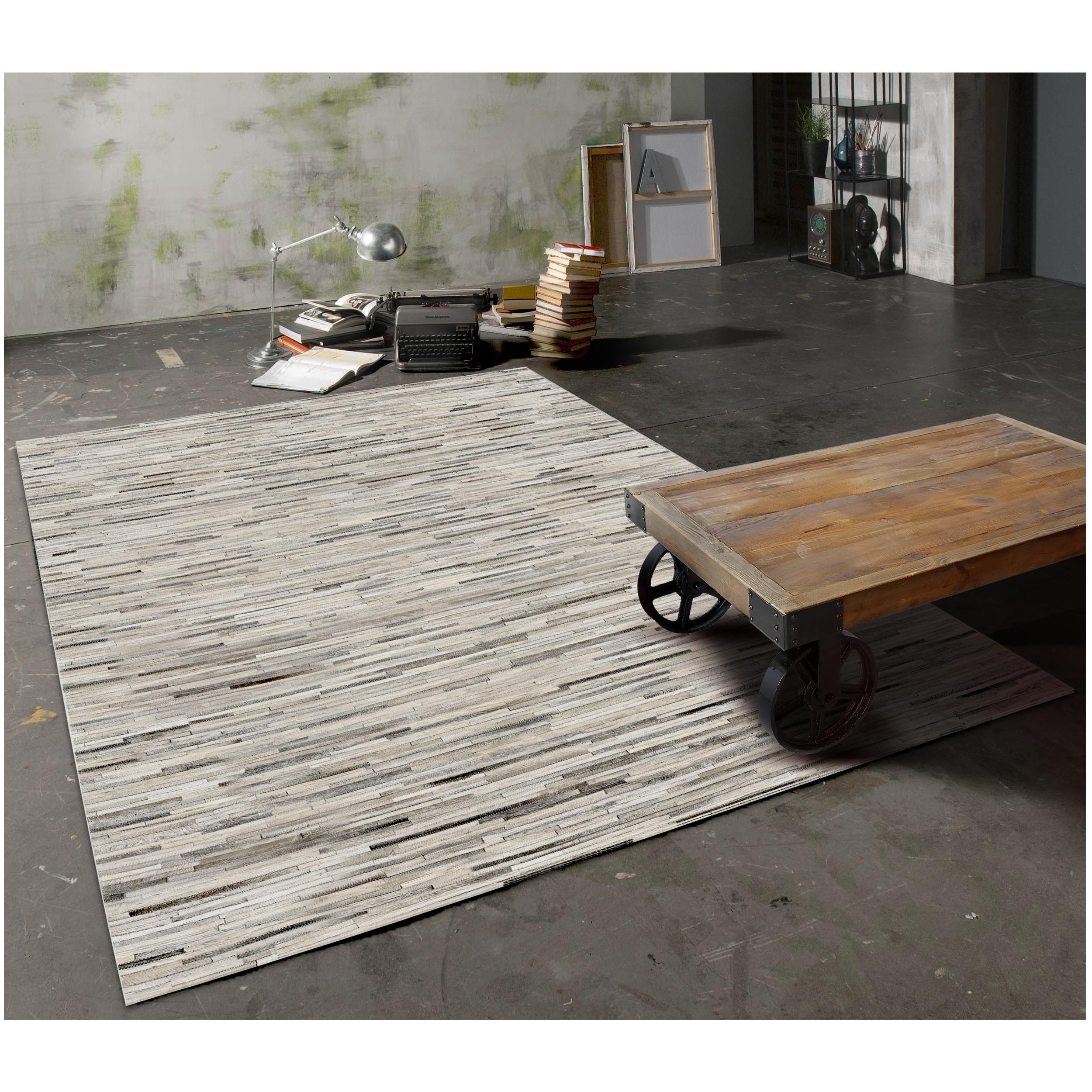 acheter tapis gris clair cuir - Tapis Gris