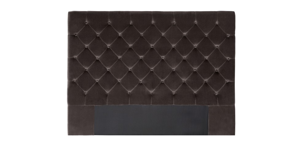 t te de lit chesterfield taupe en velours pour lit 2 places rdv d co. Black Bedroom Furniture Sets. Home Design Ideas