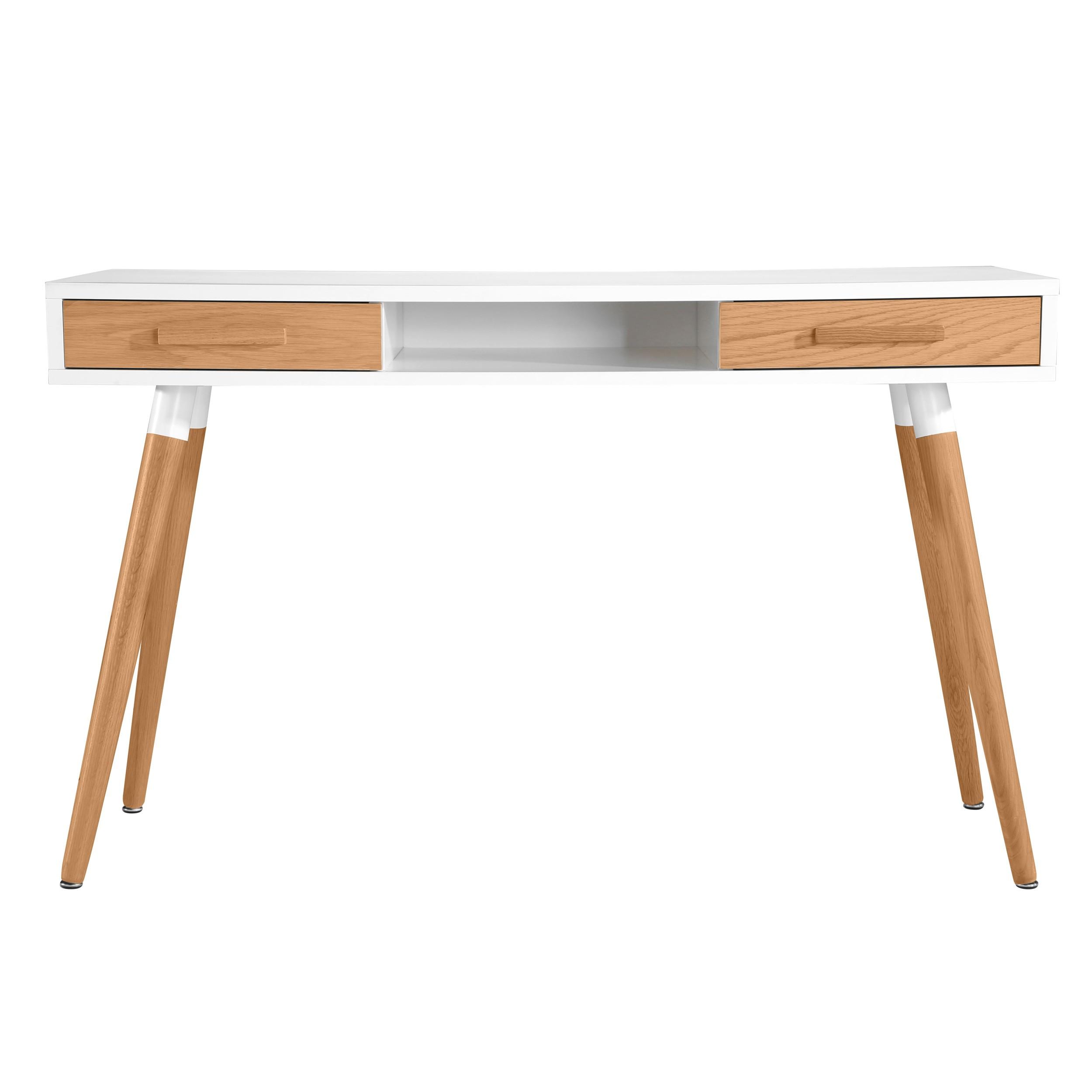Bureau vejen blanc et ch ne 2 tiroirs achetez les bureaux vejen blancs et ch ne 2 tiroirs rdv d co - Bureau bois scandinave ...