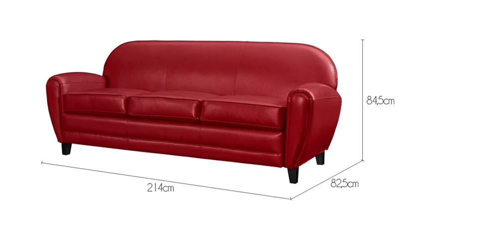 Canap club 3 places cuir rouge installez vous bord de for Petit canape rouge