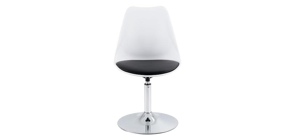 Achat Chaise Blanc Noir Pied Chrome Design