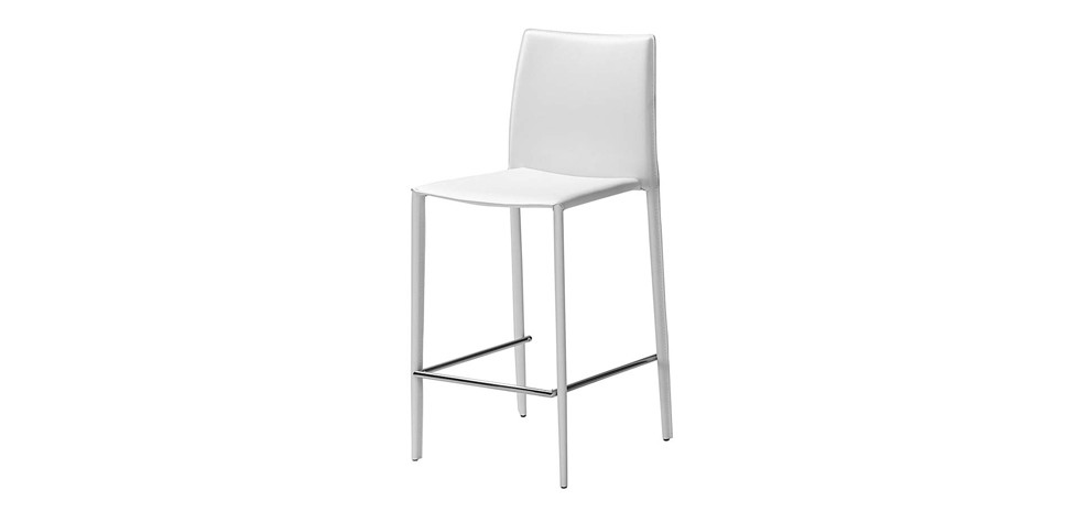 tabouret de bar tempo blanc commandez nos tabourets de bar en cuir blancs design rdv d co. Black Bedroom Furniture Sets. Home Design Ideas