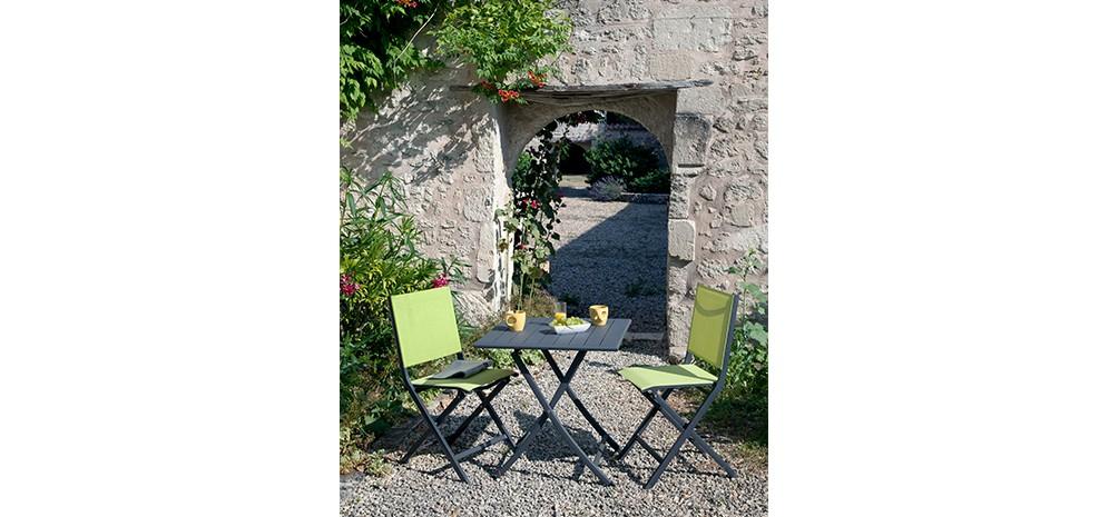 Chaise de jardin terra jaune lime lot de 2 achetez for Chaise bas prix