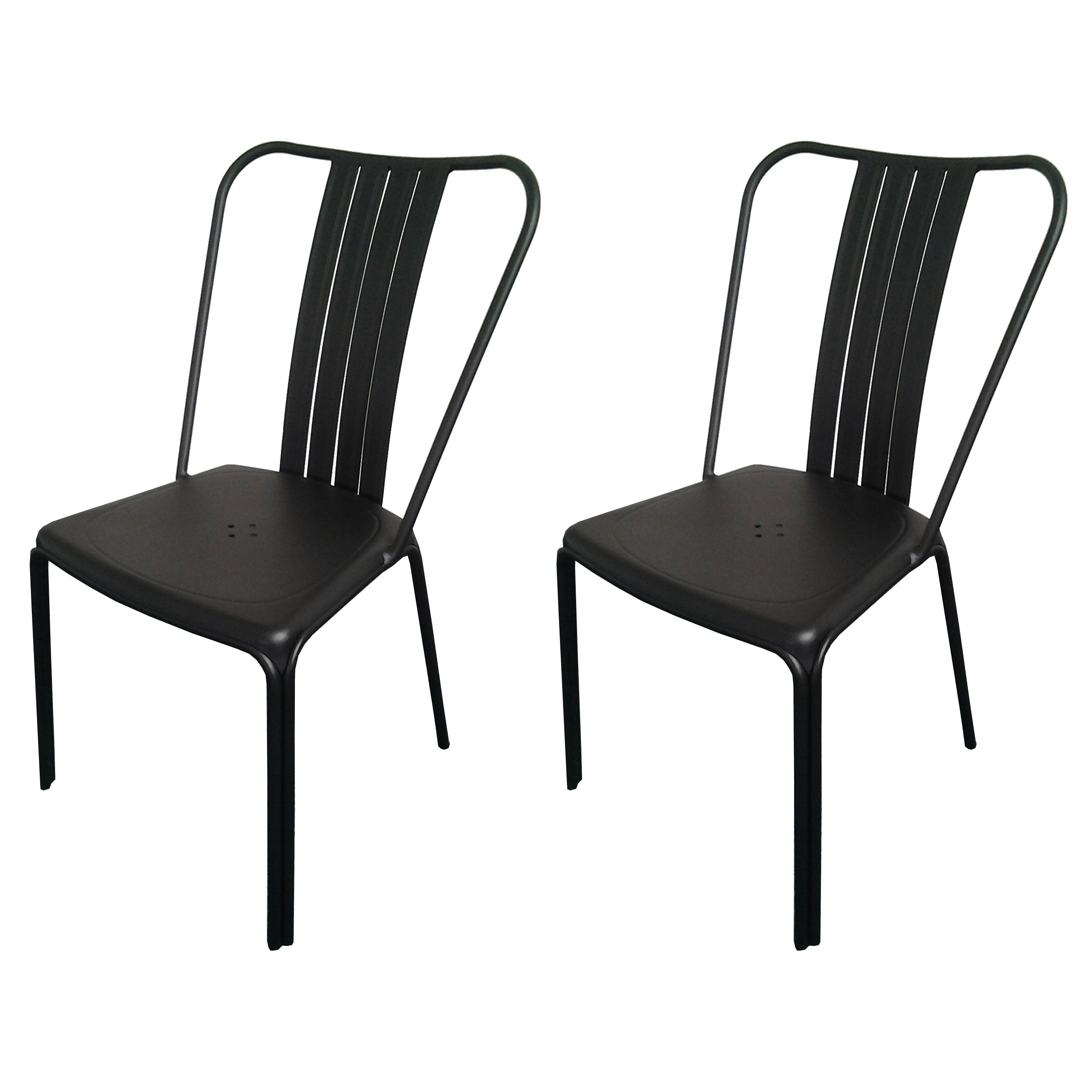 Chaise de jardin azuro noire lot de 2 commandez nos for Chaise 1er prix