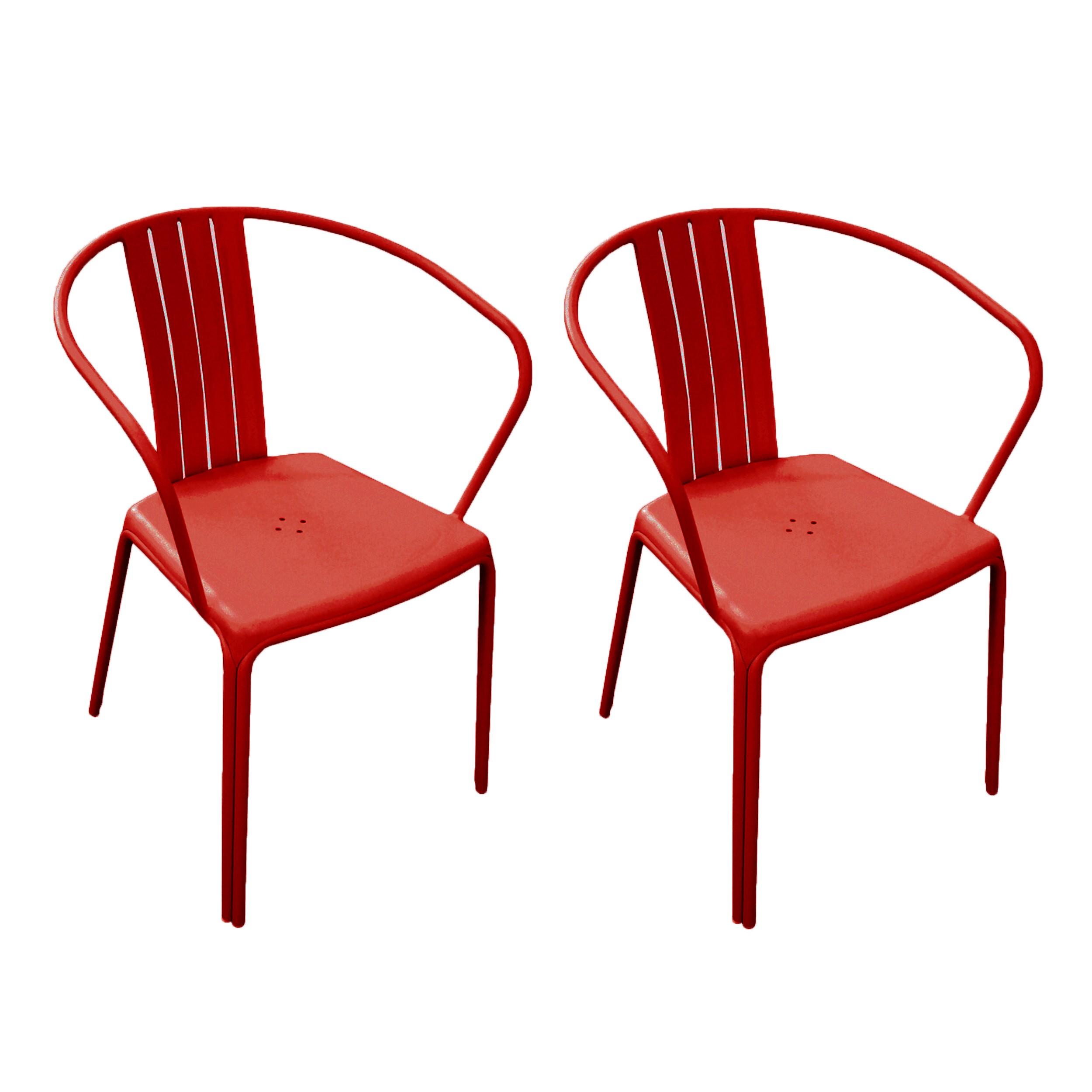 Fauteuil de jardin azuro rouge lot de 2 testez nos for Chaise 1er prix