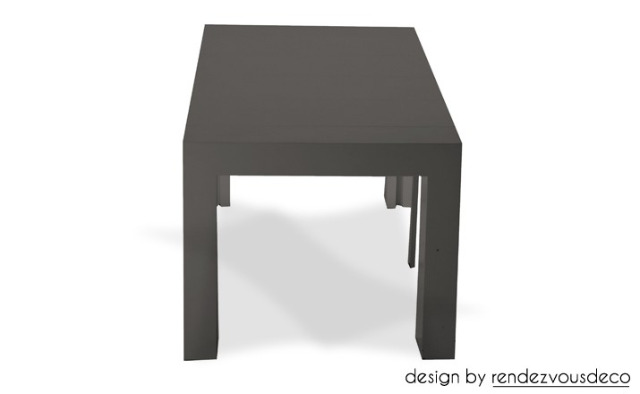 console extensible laqu e grise fondez pour nos tables grises rdv d co. Black Bedroom Furniture Sets. Home Design Ideas