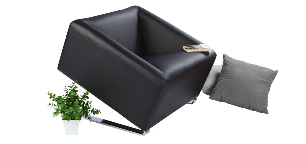 Fauteuil carré cuir noir achetez nos fauteuils carrés cuir noir