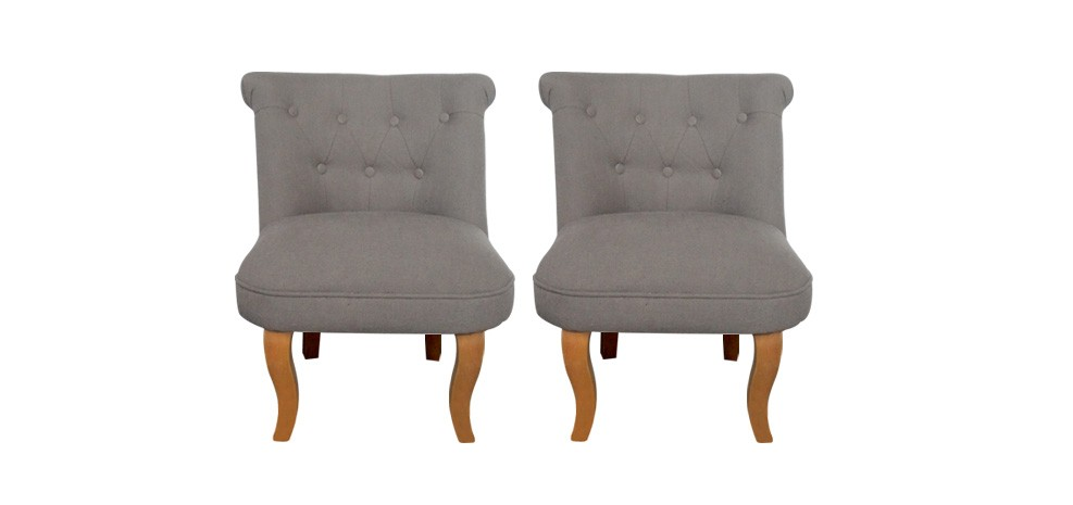 fauteuil crapaud lin taupe lot de 2 achetez nos lots. Black Bedroom Furniture Sets. Home Design Ideas