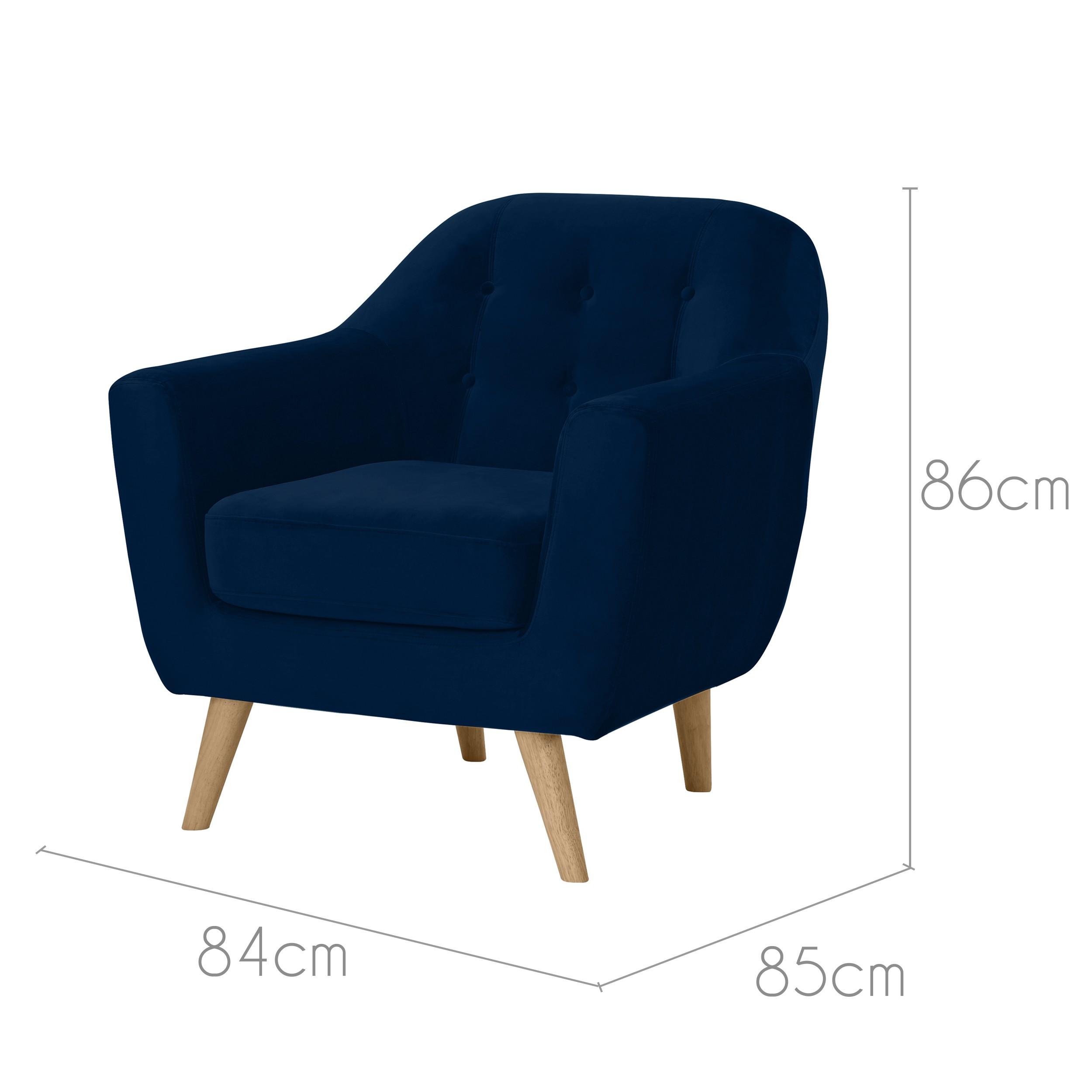 Fauteuil Rio en velours bleu foncé : commandez les fauteuils Rio ...