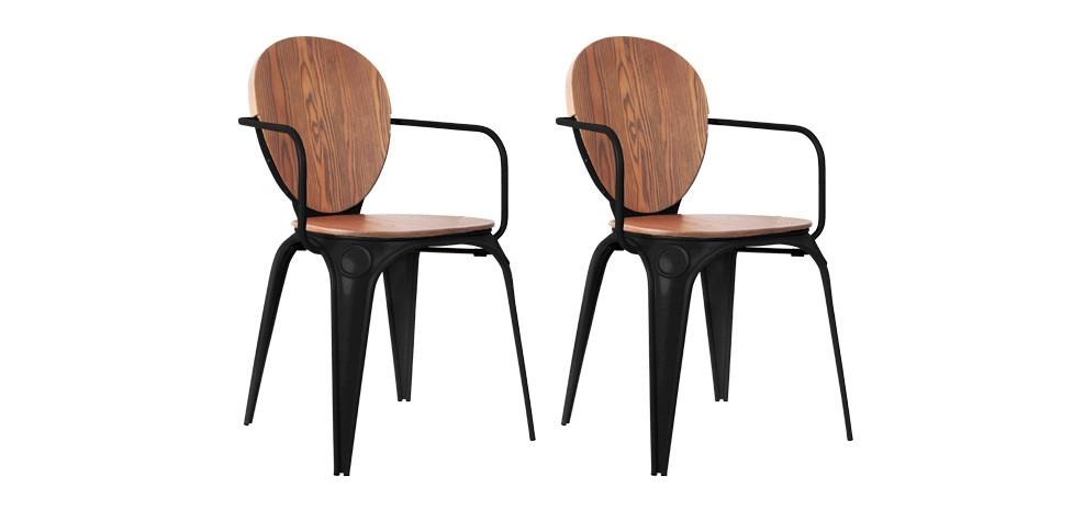 Chaise louix industry noire avec accoudoirs achetez nos chaises louix industry noires avec - Lot de 6 chaises noires ...