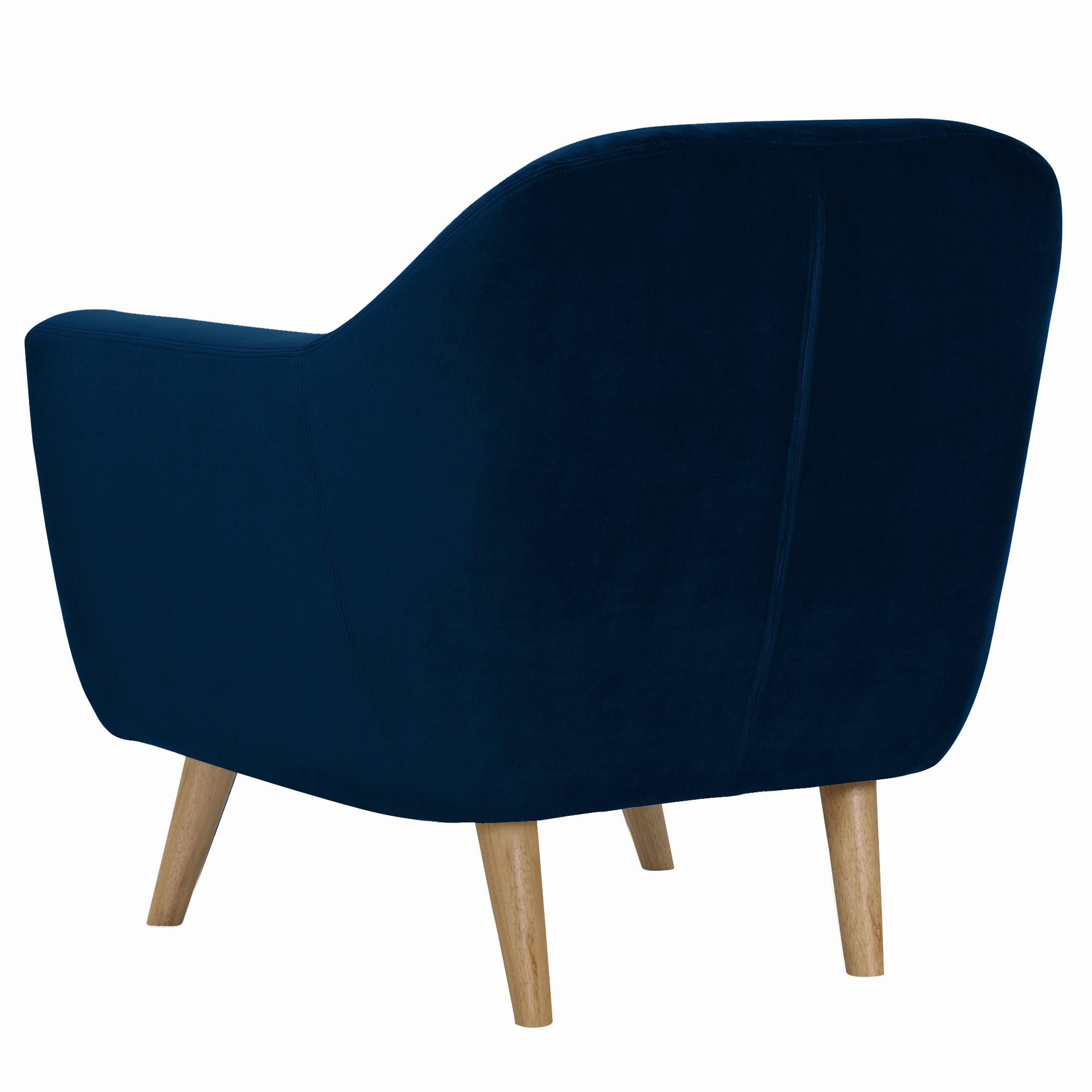 Fauteuil Rio en velours bleu foncé mandez les fauteuils Rio en