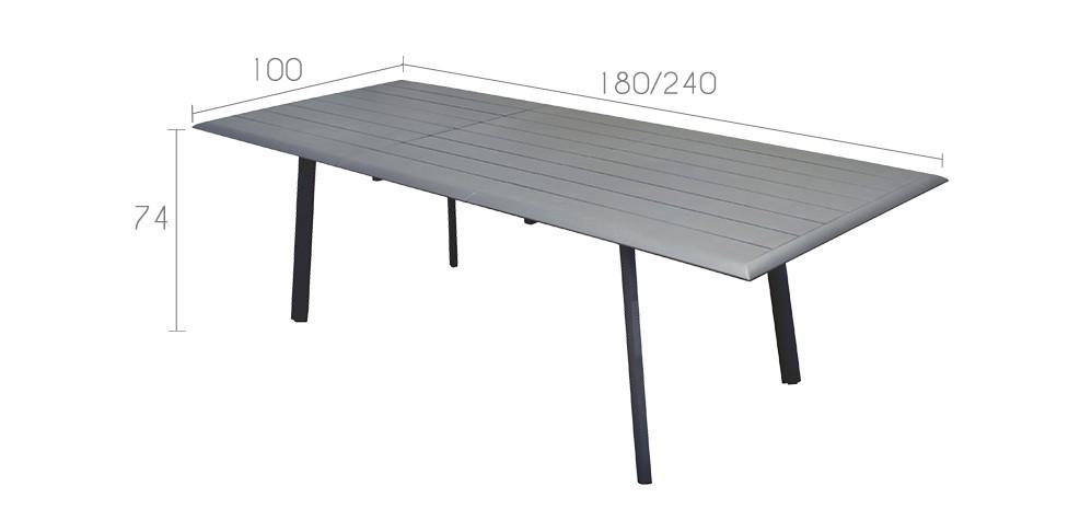 table de jardin extensible 240 cm tampa grise d couvrez nos tables de jardin extensibles 240. Black Bedroom Furniture Sets. Home Design Ideas