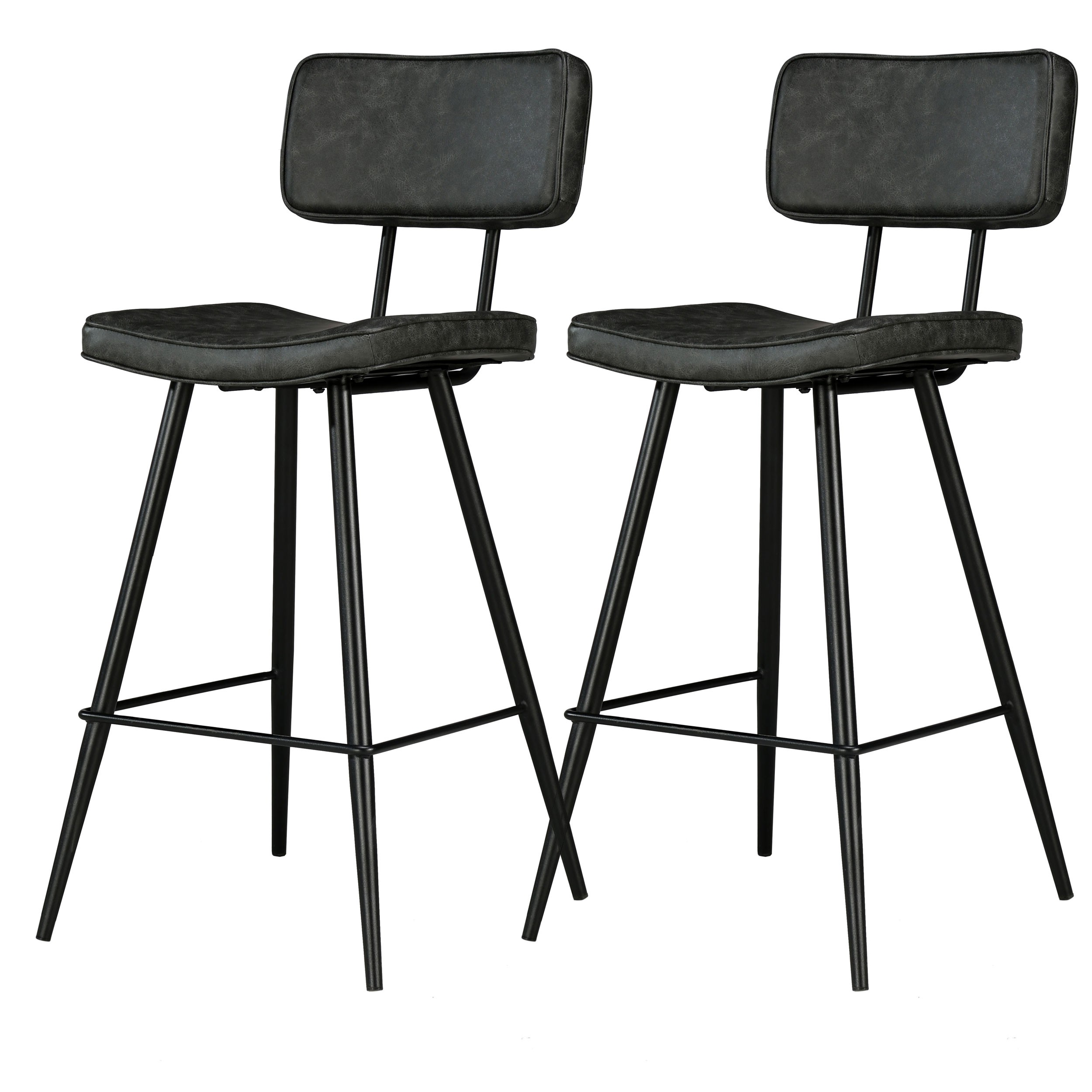 Chaises de bar Texas noires (lot de 2)