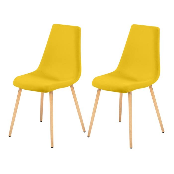 lot de 2 chaises scandinaves jaune et bois - Chaise Scandinave Jaune
