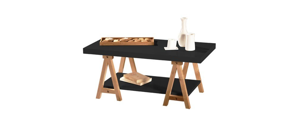 table basse noir laque treto with table basse treteau. Black Bedroom Furniture Sets. Home Design Ideas