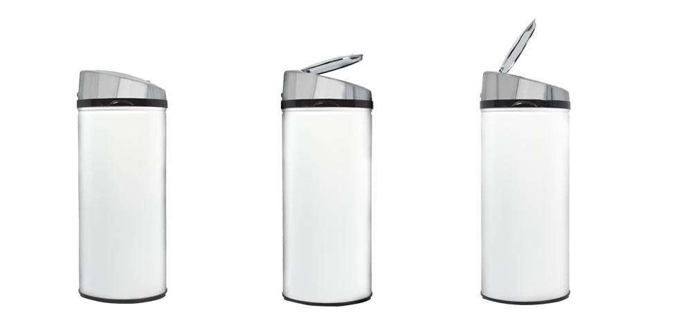 Poubelle automatique ronde blanche achetez nos poubelles - Poubelle cuisine blanche ...